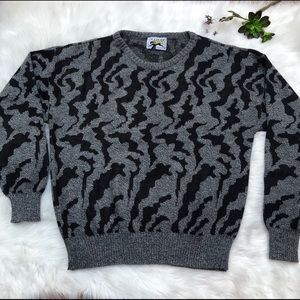 Vintage Le Tigre grandpa sweater animal print